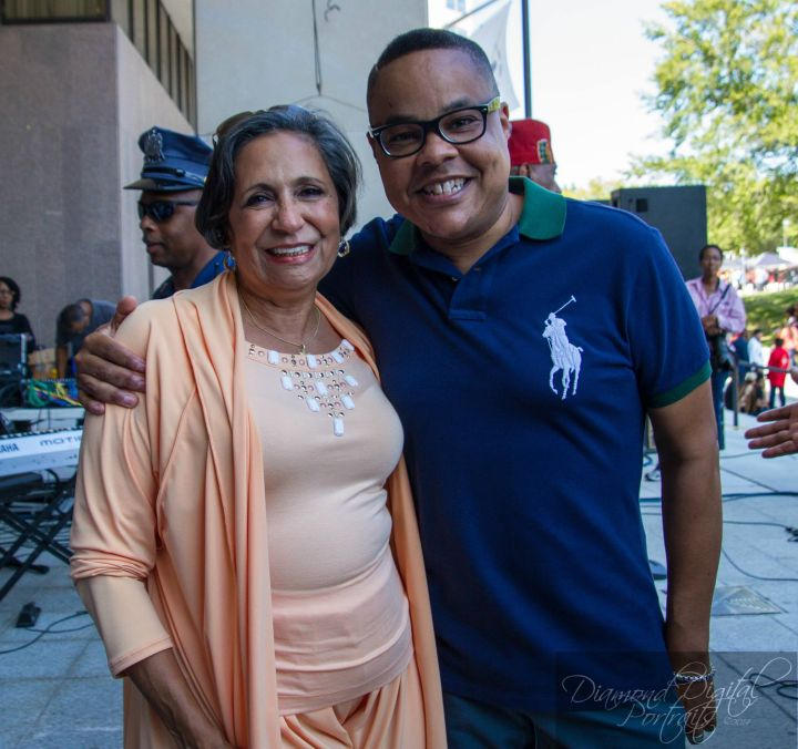 Dr. Cathy Hughes with Radio One Baltimore Operations Manager Al Payne