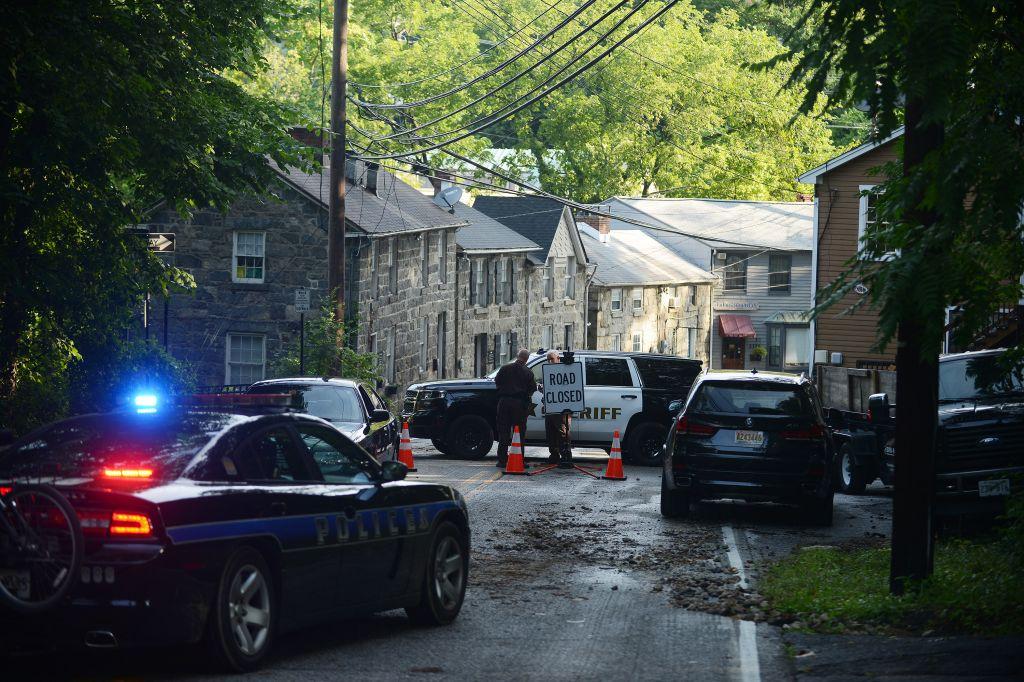 ELLICOTT CITY, MD - JULY 31: Police close streets into Elliott