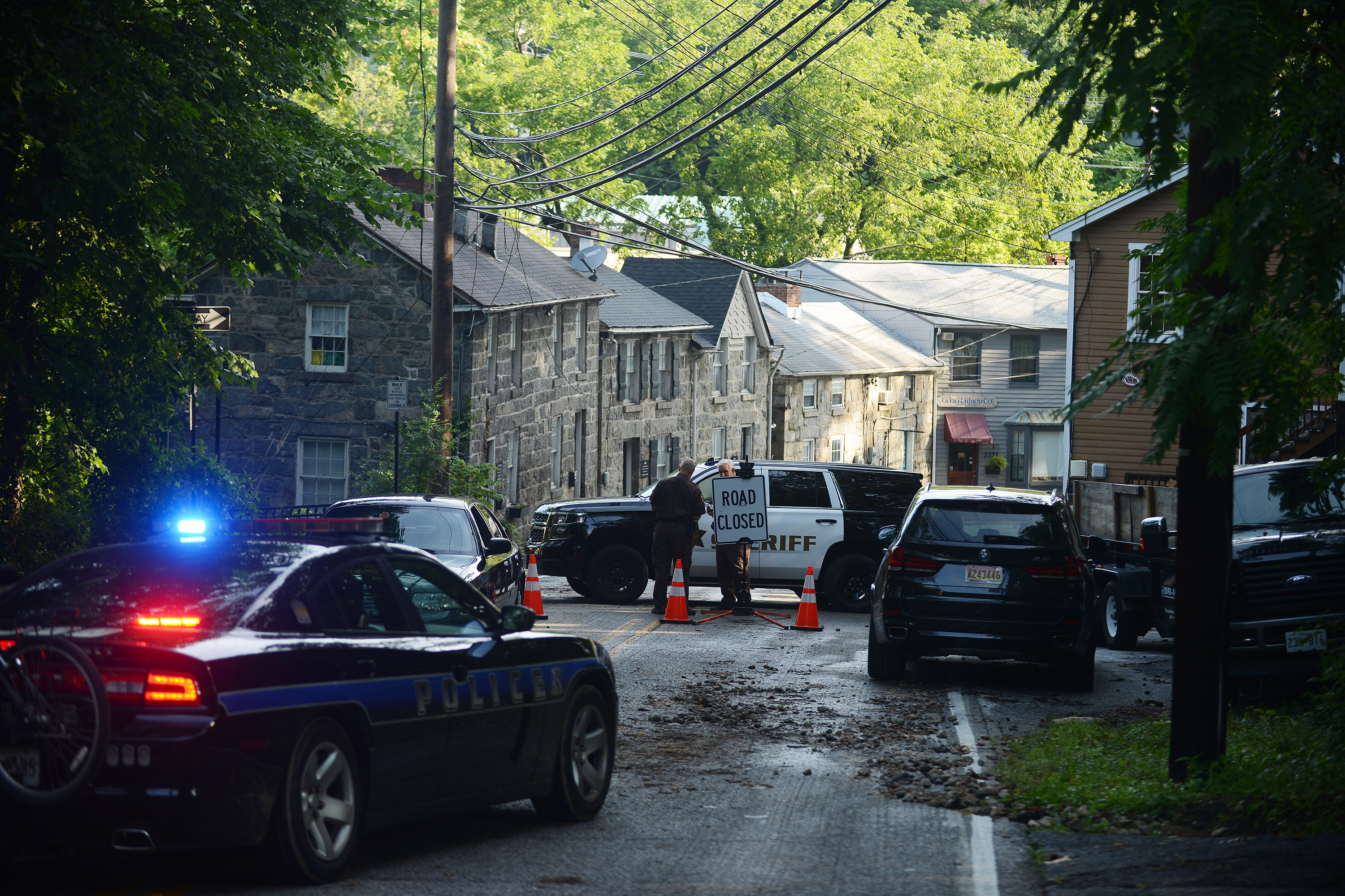 ELLICOTT CITY, MD - JULY 31: Police close streets into Elliott
