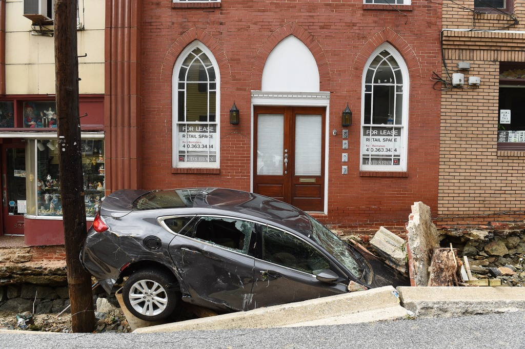 ELLICOTT CITY, MD - JULY 31: Destruction caused by a flash flo