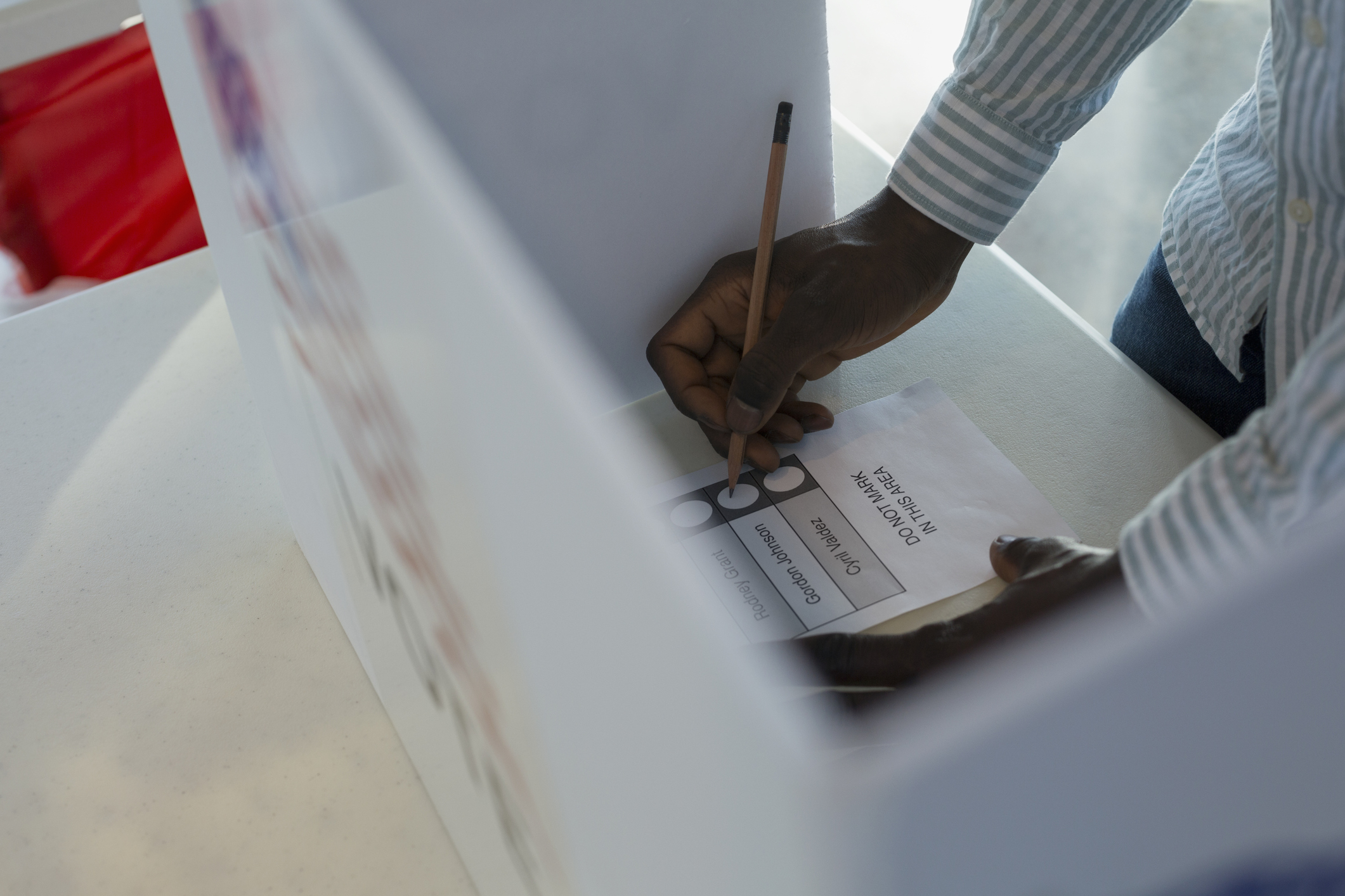 Voter in voting booth