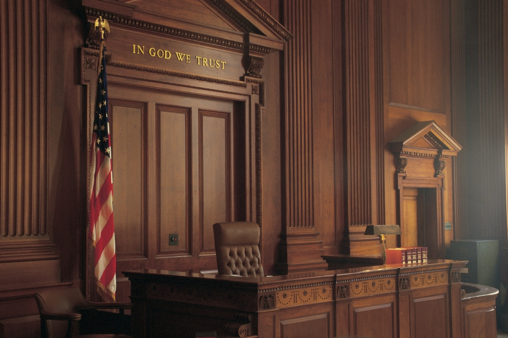 Interior of American courtroom