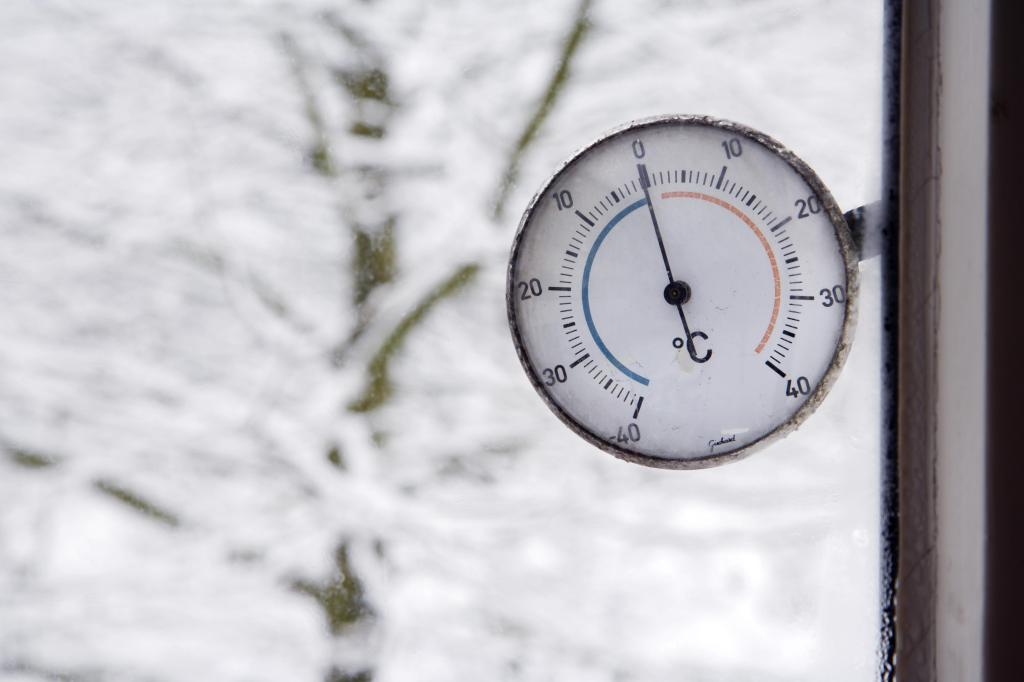 close-up of thermometer outside window