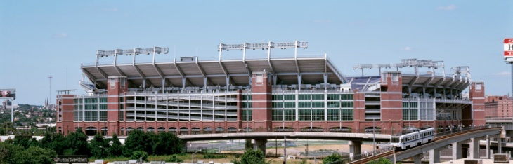 Cable car passing by a stadium, M&T Bank Stadium, Baltimore, Maryland, USA