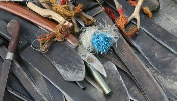 Machetes, slingshots and other weapons confiscated from militia by Australian so