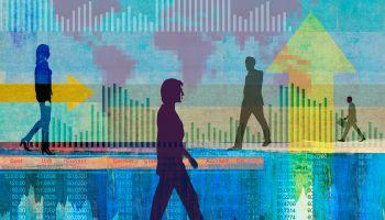 Businessmen and businesswomen in global finance collage