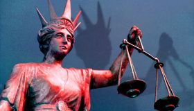 The Scales of Justice outside the District Court in Brisbane, 25 July 2003. AFR