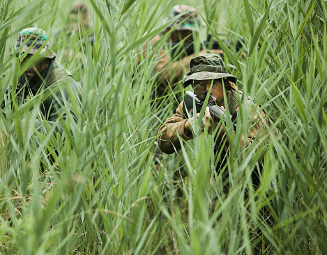 US Marines performing training exercise in swamp grass
