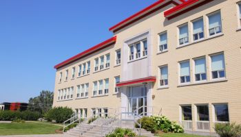 Modern School Building in Summer