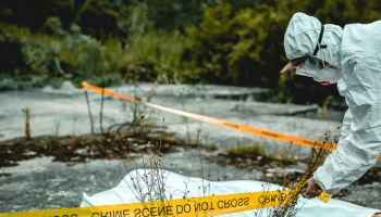 crime scene investigation, forensic examines the corpse