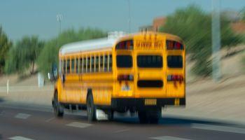 School Bus Travelling on Highway