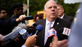 Governor Larry Hogan and representatives from the Maryland Department of Transportation (MDOT) took part in a ceremony to announce the installation of the first section of track for the $5.6 billion Purple Line Light Rail system between New Carrollton and