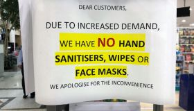 Sold out sign for hand sanitizer and face masks outside shop during coronavirus, COVID-19 pandemic