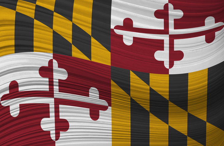 Waving flag of MARYLAND in United States.