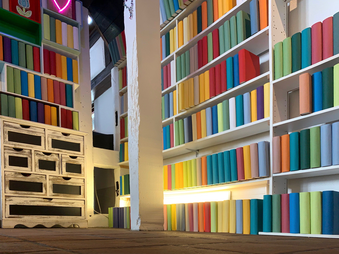 Books shelves packed with generic colorful books