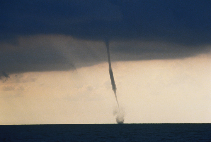 Waterspout over sea