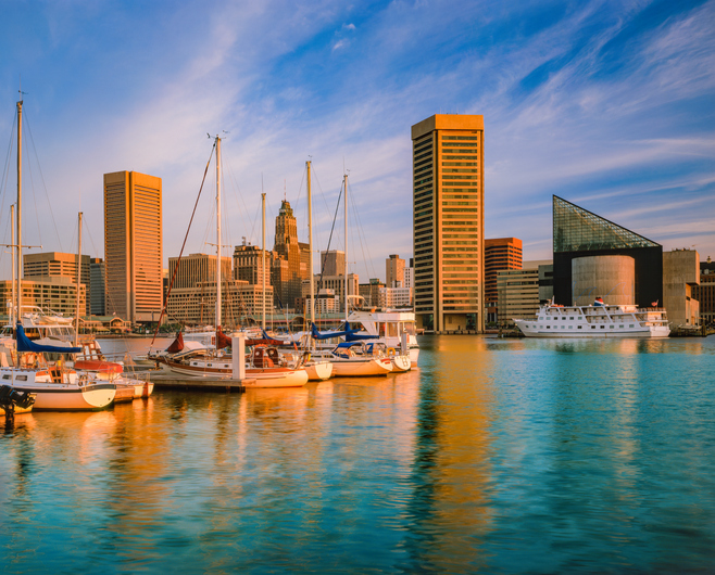 Cityscape with skyscrapers of Baltimore skyline Maryland